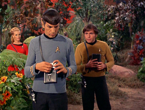 Spock and Chekov use tricorders
