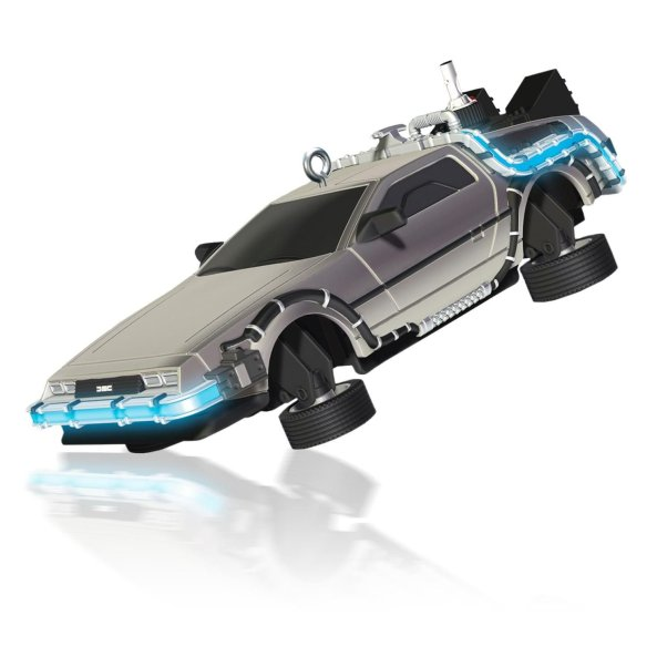 flying delorean ornament
